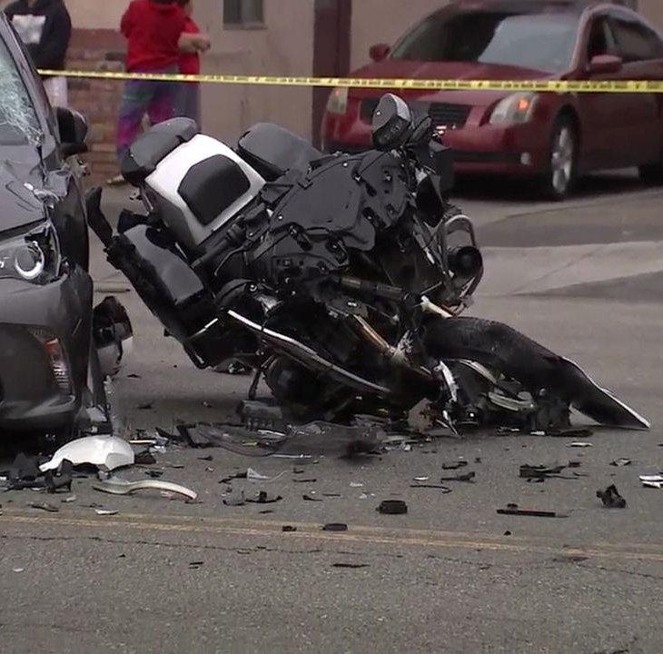 Motorcycle crash scene at Laredo